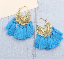 Load image into Gallery viewer, All About The Tassel Earrings - Turquoise