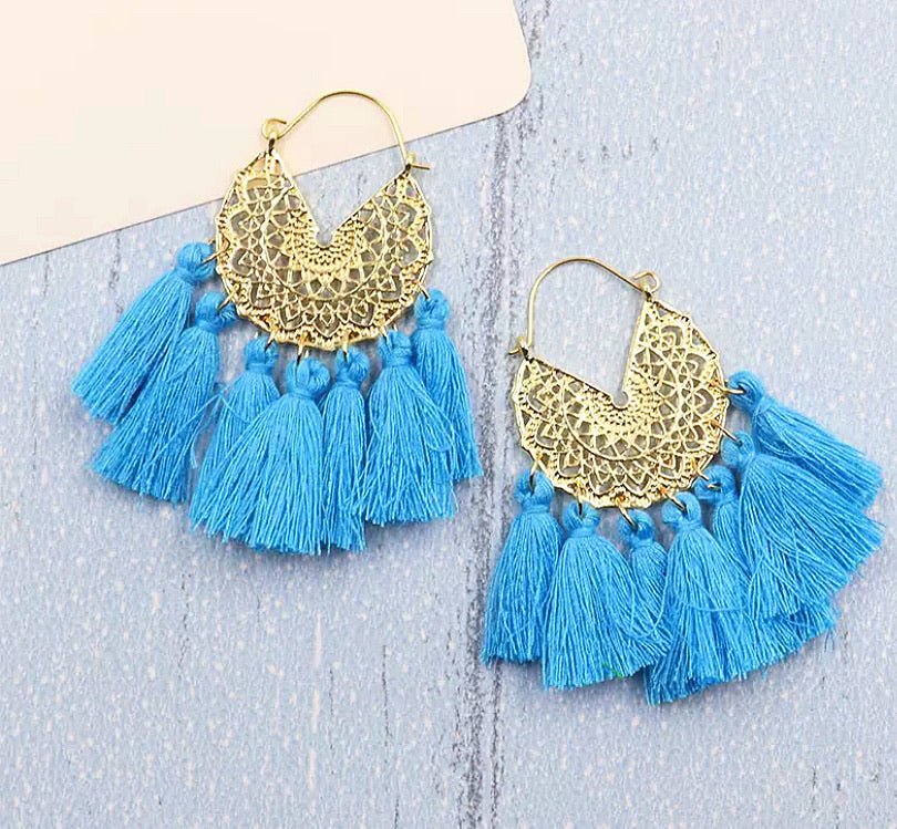 All About The Tassel Earrings - Turquoise