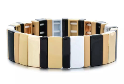 Stackable Enamel Bracelet - Gold/White/Black