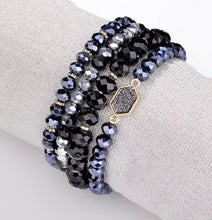 Load image into Gallery viewer, Sparkle Bracelet Set - Black/Midnight Blue/Grey