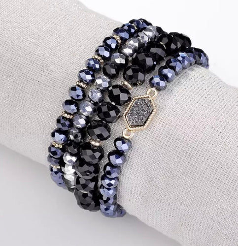 Sparkle Bracelet Set - Black/Midnight Blue/Grey