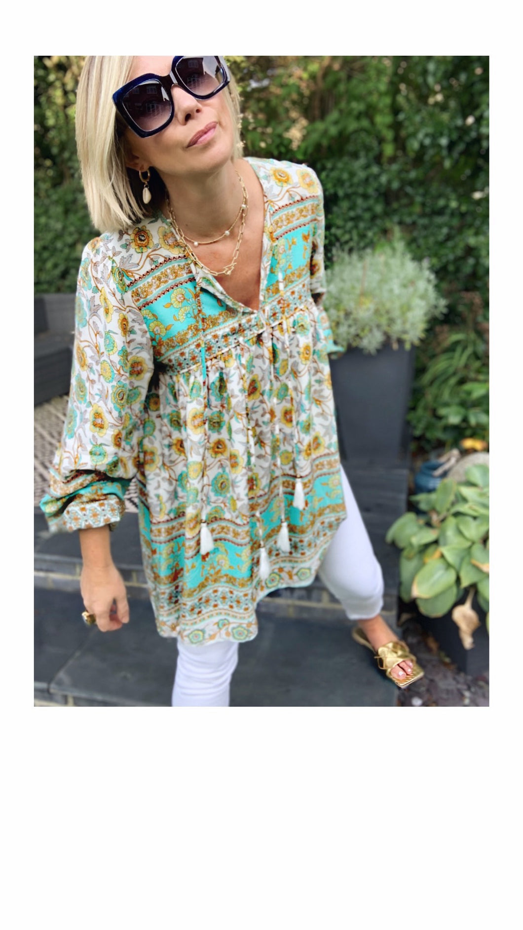 Boho Blouse/Tunic - Floral Blue/Ochre