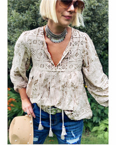 Boho Blouse/Tunic - Neutral Floral Mix
