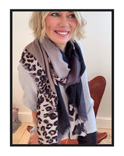 Load image into Gallery viewer, Leopard / Block Print Scarf - Black/Grey