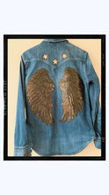 Load image into Gallery viewer, SPREAD YOUR WINGS - Rose Mae Reworked Denim Shacket (THIS PIECE IS RESERVED)