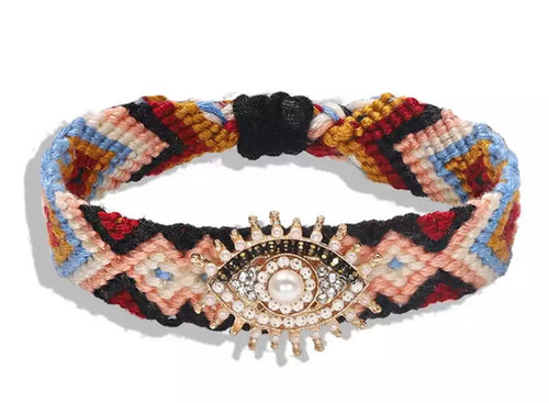 Boho Evil Eye (Good Luck) Woven Bracelet - Brown Multi