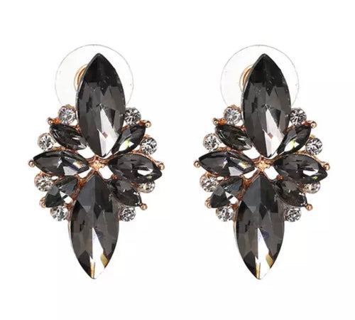 Crystal Earrings - Grey