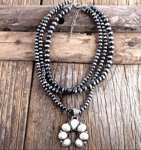 Beaded White Howlite Necklace