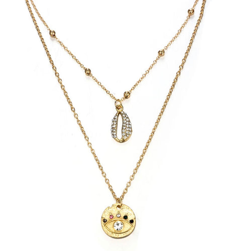 Double Shell/Evil Eye Pendant Necklace
