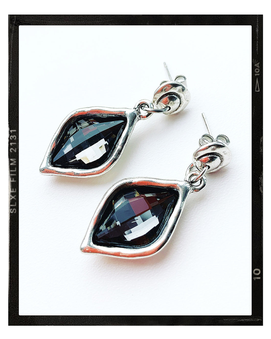 Drop Earrings - Grey Diamond