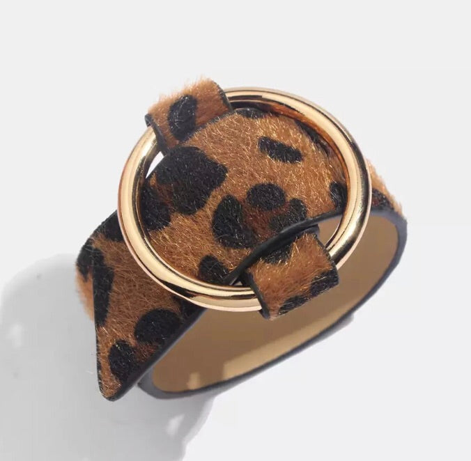 Leopard Print Cuff - Dark (Buckle) (Was £14 Now £8)