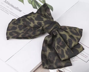 Leopard Hair Bow Barrette - Green