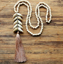 Load image into Gallery viewer, Cowrie Cluster Long Tassel Necklace