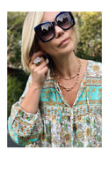 Load image into Gallery viewer, Boho Blouse/Tunic - Floral Blue/Ochre