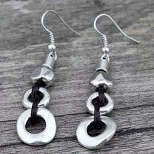 Load image into Gallery viewer, Silver/ Leather Disc Earrings