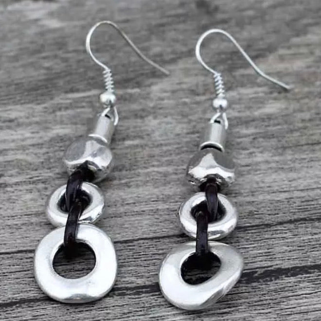 Silver/ Leather Disc Earrings