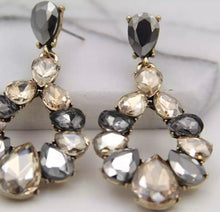 Load image into Gallery viewer, Crystal Drop Earrings - Grey/Champagne