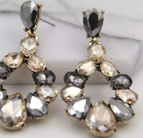 Crystal Drop Earrings - Grey/Champagne