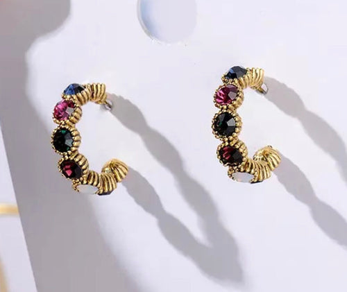Gold Multi Crystal Hoop Earrings