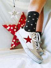 Load image into Gallery viewer, Polka Glitter Socks - Gunmetal or Silver