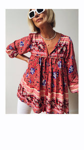 Boho Blouse/Tunic - Red Floral Mix