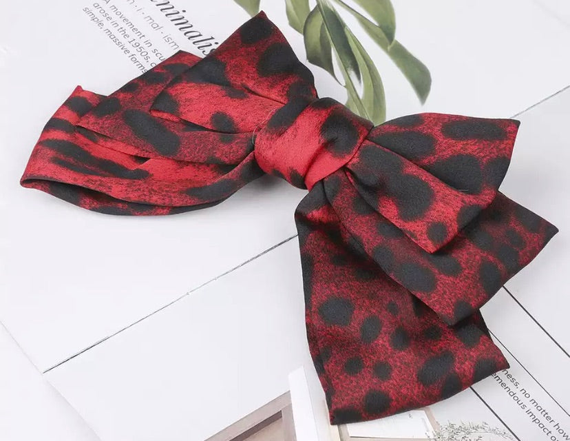 Leopard Hair Bow Barrette - Red