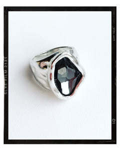 Silver Irregular Oval Glass Stone Ring - Grey
