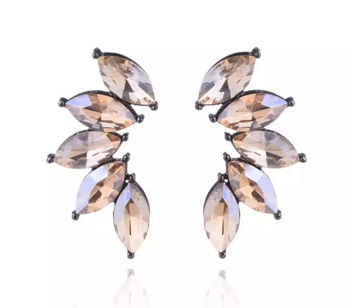 Crystal Crescent Earrings - Champagne