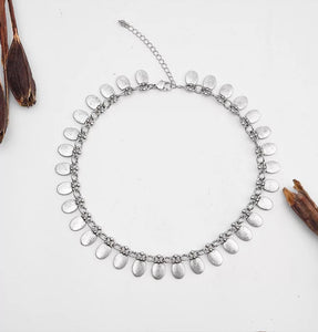 Antique Silver Oval Drop Necklace