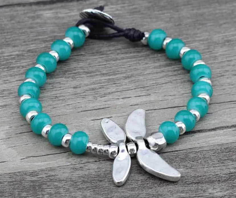 Silver Dragonfly Bracelet - Turquoise Green