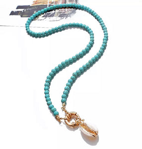 Beaded Cowrie Shell Necklace - Turquoise