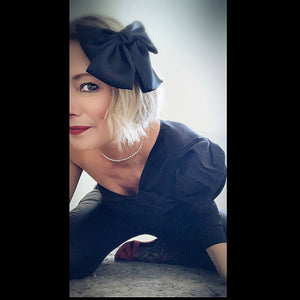 Satin Hair Bow Barrette Clip - Black