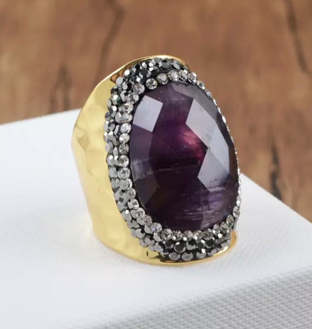 Cocktail Rings - Amethyst, Laborite & Crysoprases