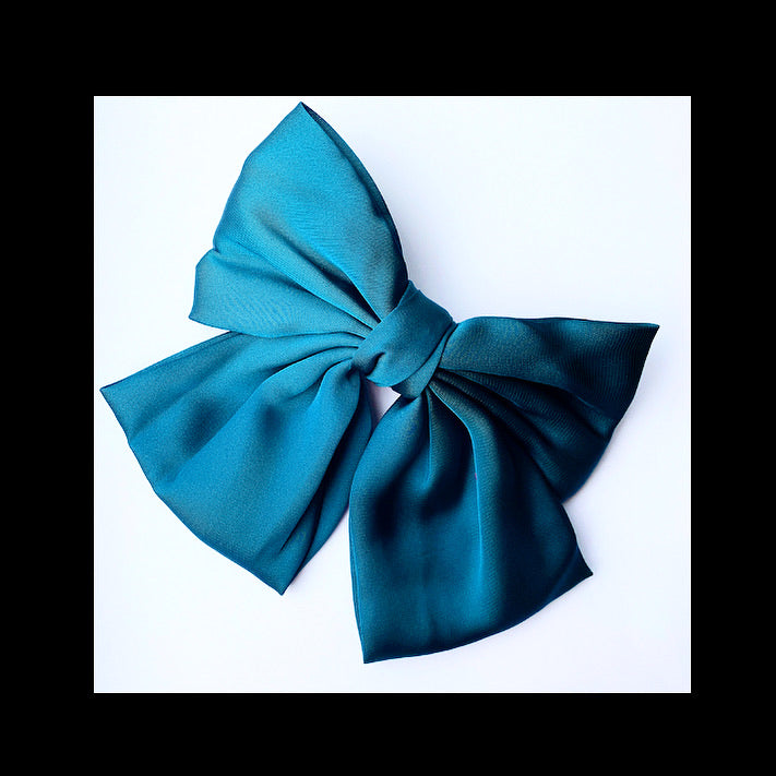 Satin Hair Bow Barrette Clip - Teal
