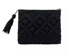 Load image into Gallery viewer, Cotton Macrame Clutch - Black