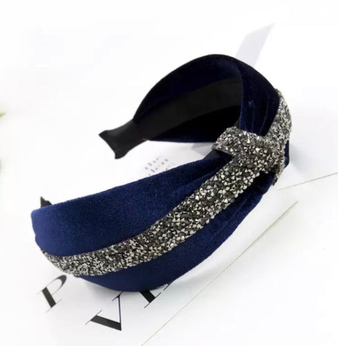 Velvet Hairband with Crystal Knot - Midnight Blue