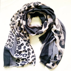 Leopard / Block Print Scarf - Black/Grey