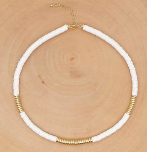 Disc Necklace - White/Gold