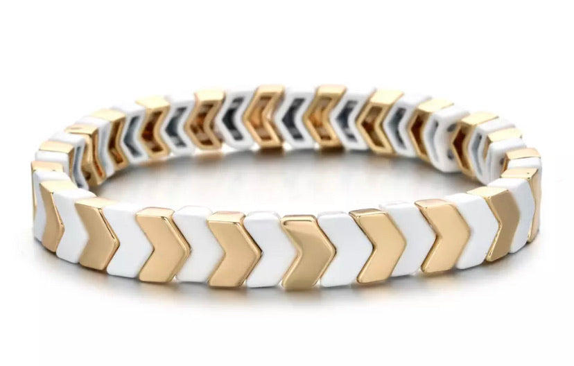 Stackable Enamel Bracelet - Gold/White Chevron