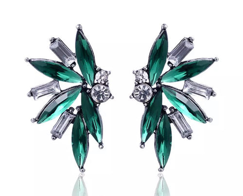 Crystal Earrings - Green