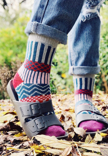 Argyle Socks - Red/Green/Grey