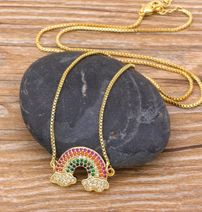 Rainbow Necklace - Gold