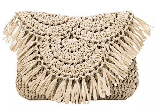Stay Woven Clutch/Cross Body Bag - Light Natural