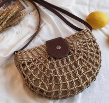 Load image into Gallery viewer, Rattan Half Moon Bag (Was £14.50 Now £9.00)