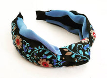 Load image into Gallery viewer, Embroidered Headband - Floral Blue