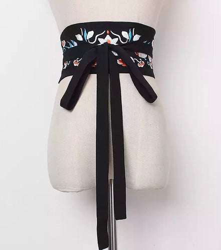 Embroidered Obi Belt - Black