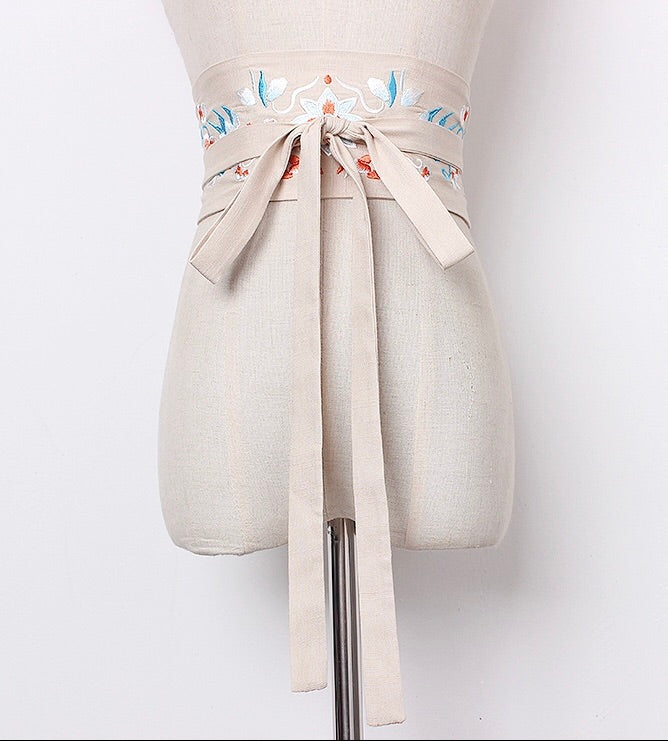 Embroidered Obi Belt - Cream