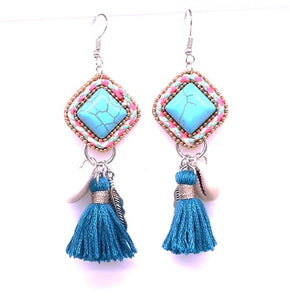 Boho Turquoise Stone Earrings(Was £12.50 Now £7)