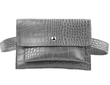 Load image into Gallery viewer, Belt Bag - Grey Mock Croc