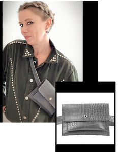 Belt Bag - Grey Mock Croc